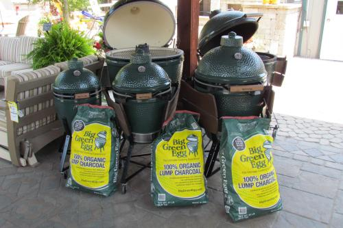 Big Green Eggs and Big Green Egg Organic Lump Charcoal bags