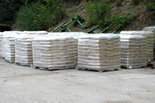 Piles of wood pellets