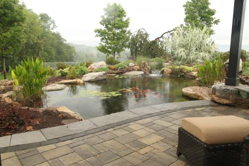 Outdoor living area by pond